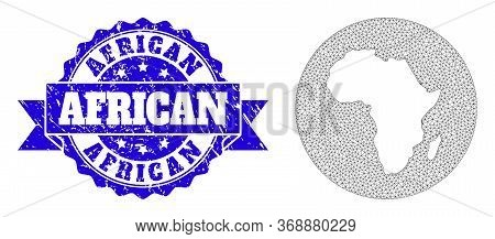 Mesh Vector Map Of Africa With Scratched Stamp. Triangle Mesh Map Of Africa Is Stencils In A Round S