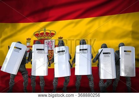 Spain Police Squad Protecting Peaceful People Against Mutiny - Protest Fighting Concept, Military 3d