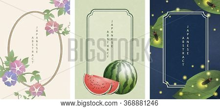 Oriental Japanese Style Abstract Pattern Background Frame Design Summer Nature Objects Morning Glory