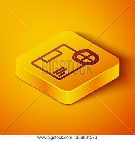 Isometric Line Delivery Security With Shield Icon Isolated On Orange Background. Delivery Insurance.