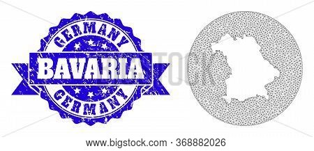 Mesh Vector Map Of Bavaria State With Scratched Stamp. Triangular Net Map Of Bavaria State Is A Hole