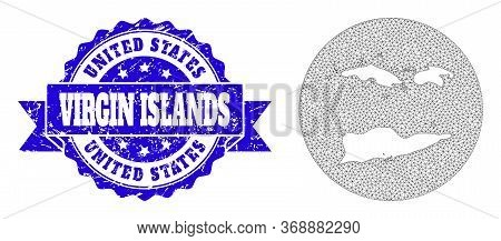 Mesh Vector Map Of American Virgin Islands With Scratched Seal. Triangular Mesh Map Of American Virg