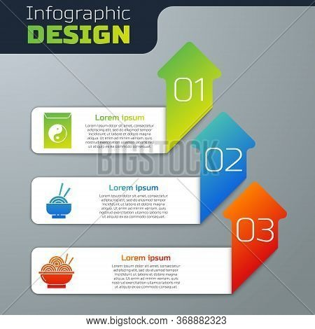 Set Yin Yang And Envelope, Asian Noodles In Bowl And Asian Noodles In Bowl. Business Infographic Tem