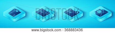 Set Isometric Envelope, Envelope, Mail And E-mail And Envelope And Check Mark Icon. Vector.