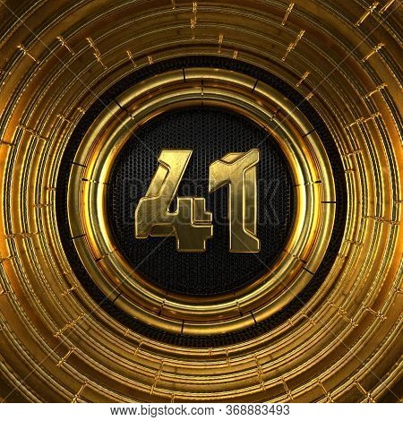 Gold Number 41 (number Forty-one) With Perforated Black Metal Background And Gold Rings Around. 3d I