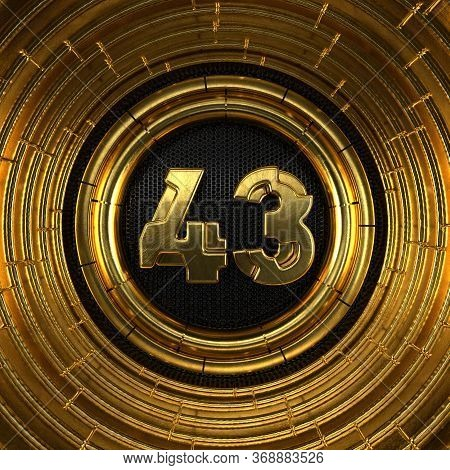 Gold Number 43 (number Forty-three) With Perforated Black Metal Background And Gold Rings Around. 3d