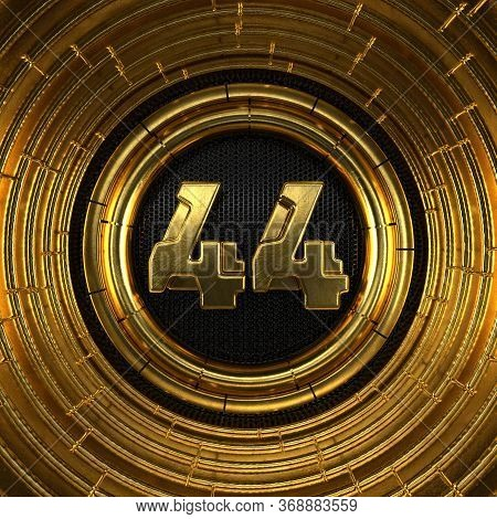 Gold Number 44 (number Forty-four) With Perforated Black Metal Background And Gold Rings Around. 3d