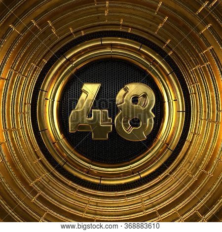 Gold Number 48 (number Forty-eight) With Perforated Black Metal Background And Gold Rings Around. 3d