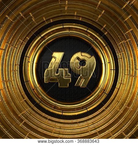 Gold Number 49 (number Forty-nine) With Perforated Black Metal Background And Gold Rings Around. 3d