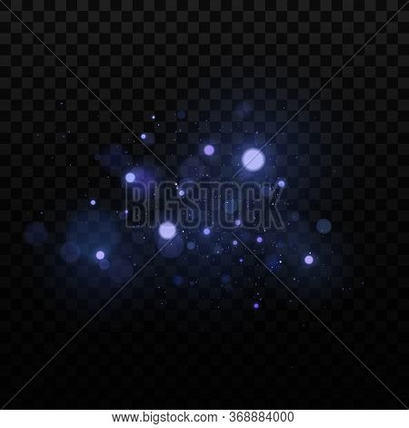 Abstract Light Effect Bokeh On A Dark Transparent Background. Bright Blue Glares. Colorful Glitter.