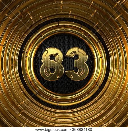 Gold Number 83 (number Eighty-three) With Perforated Black Metal Background And Gold Rings Around. 3