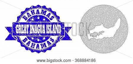 Mesh Vector Map Of Great Inagua Island With Scratched Seal Stamp. Triangle Mesh Map Of Great Inagua