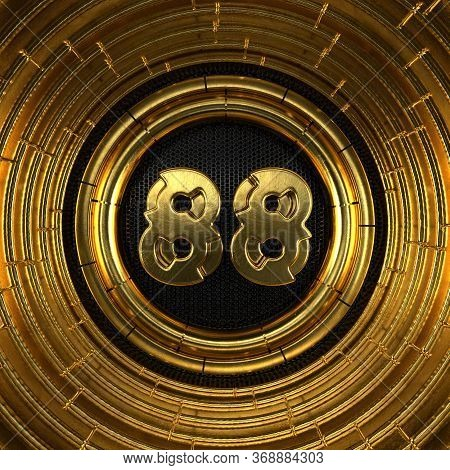 Gold Number 88 (number Eighty-eight) With Perforated Black Metal Background And Gold Rings Around. 3