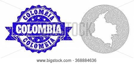 Mesh Vector Map Of Colombia With Scratched Seal. Triangle Net Map Of Colombia Is A Hole In A Round S