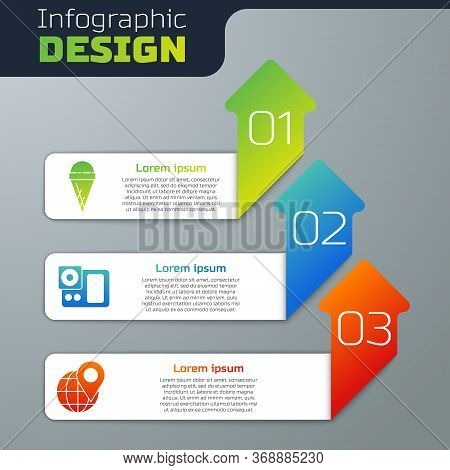 Set Ice Cream In Waffle Cone, Photo Camera And Location On The Globe. Business Infographic Template.