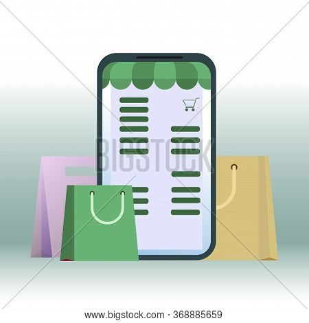 Shopping Online, Retail In Smartphone. Mobile Retail Online