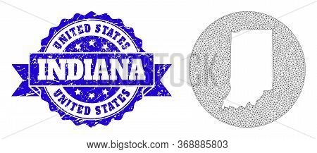 Mesh Vector Map Of Indiana State With Scratched Seal. Triangle Network Map Of Indiana State Is Inver