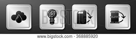 Set Cloud With Rain, Light Bulb With Leaf, Eco Fuel Canister And Eco Fuel Barrel Icon. Silver Square