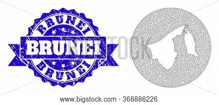 Mesh Vector Map Of Brunei With Scratched Watermark. Triangle Mesh Map Of Brunei Is A Hole In A Round
