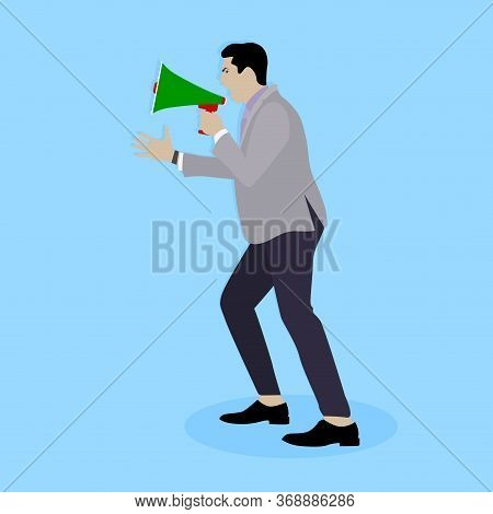 Man Shouting In Megaphone. Announcement Communication, Announce Loud Speech, Broadcasting Promotion,