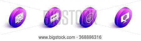 Set Isometric Monitor And Envelope, Speech Bubble Chat, Shield With Mail And E-mail And Mail And E-m