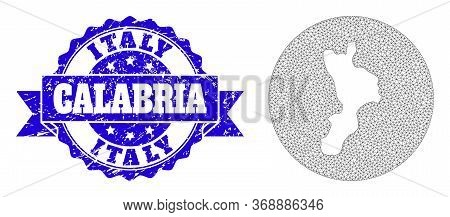 Mesh Vector Map Of Calabria Region With Scratched Stamp. Triangle Mesh Map Of Calabria Region Is A H
