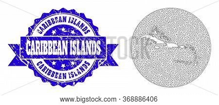 Mesh Vector Map Of Caribbean Islands With Scratched Stamp. Triangular Mesh Map Of Caribbean Islands