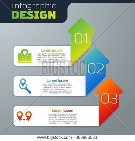 Set Laptop With Location Marker, Search Location And Route Location. Business Infographic Template.