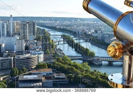 Paris, France. August 13, 2018. Parisian Cityscape From The Tour Eiffel Or Eiffel Tower Viewpoint Wi