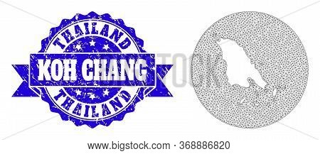 Mesh Vector Map Of Koh Chang With Scratched Seal Stamp. Triangular Network Map Of Koh Chang Is A Hol