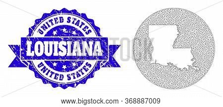 Mesh Vector Map Of Louisiana State With Scratched Seal Stamp. Triangular Network Map Of Louisiana St