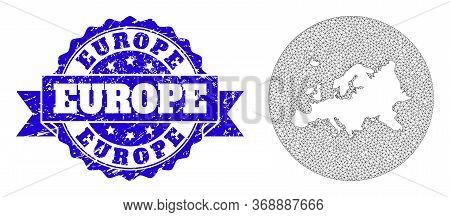 Mesh Vector Map Of Europe With Grunge Seal Stamp. Triangle Network Map Of Europe Is Stencils In A Ci