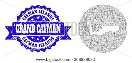 Mesh Vector Map Of Grand Cayman Island With Grunge Seal Stamp. Triangular Mesh Map Of Grand Cayman I