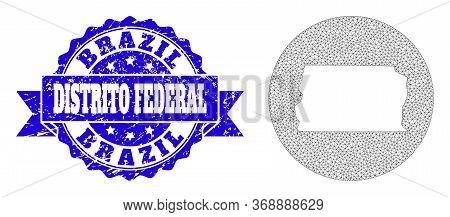 Mesh Vector Map Of Brazil - Distrito Federal With Scratched Seal Stamp. Triangle Net Map Of Brazil -