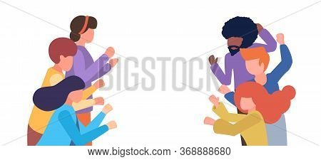 Group Of People Applaud. Men And Women Show Applause. Vector Flat Cartoon Illustration With Copy Spa