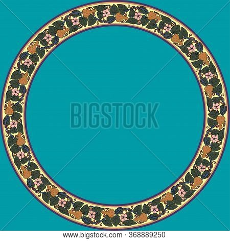 Vintage Round Frame With Lagenaria. Art Nouveau Style. Vector.