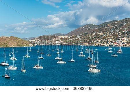 Charlotte Amalie, St. Thomas, United States V. Islands (usvi) - April 30, 2019: Sailing Yachts Ancho