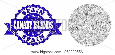 Mesh Vector Map Of Canary Islands With Scratched Seal Stamp. Triangle Network Map Of Canary Islands