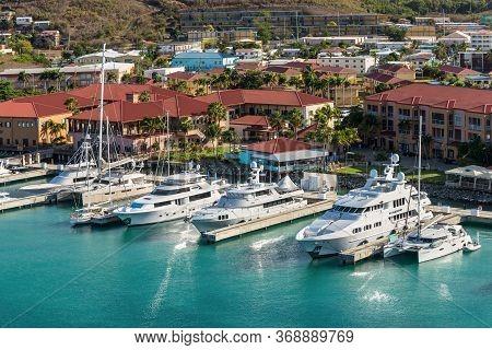Charlotte Amalie, St. Thomas, United States V. Islands (usvi) - April 30, 2019: Luxury Motor Yachts