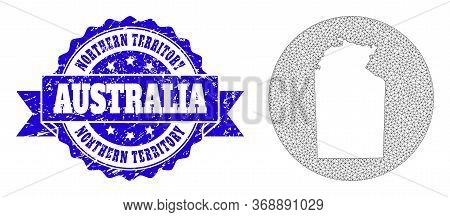 Mesh Vector Map Of Australian Northern Territory With Grunge Stamp. Triangle Mesh Map Of Australian