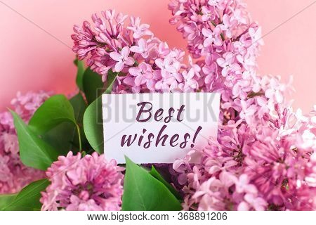 Inscription Best Wishes On A White Gift Card In A Beautiful Bouquet Of Lilac Flowers