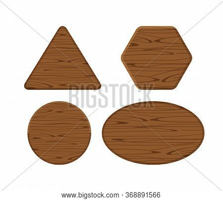 Wooden Plank Different Collection Isolated On White Background, Hexagon Wood Shape, Wooden Triangle,