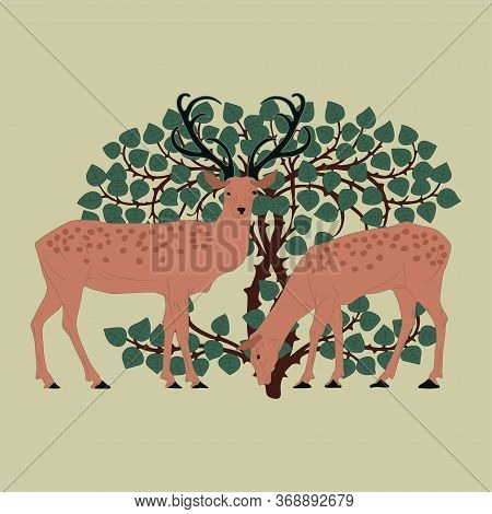 Cute Deer With Antlers. Flat Vector Illustration. Cartoon Animal Design. Vector.
