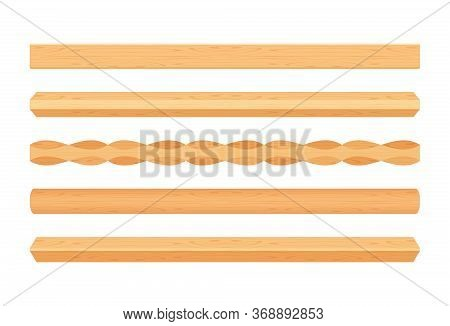 Wooden Lath Different Light Brown Color Isolated On White, Wooden Slat Poles Brown, Lath Wood For Ho