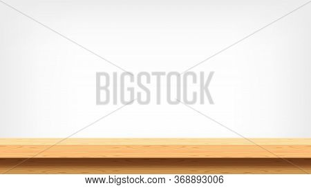 Wood Plank Empty Front View For Background, Copy Space, Blank Table Top Wooden Brown, Wooden Table O