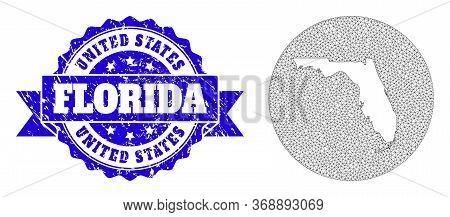 Mesh Vector Map Of Florida State With Grunge Seal Stamp. Triangle Net Map Of Florida State Is Carved