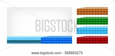 Blue Wood Table And Collection Tablecloth For Design Edit, Empty Plank Top And Tablecloth, Checkered