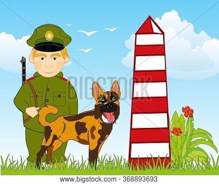 Soldier Frontiersmen On Post With Official Dog