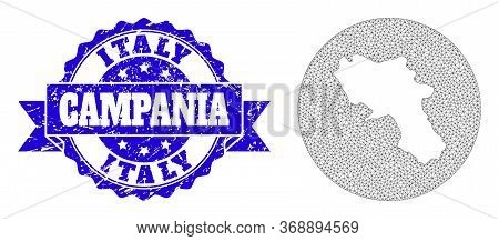 Mesh Vector Map Of Campania Region With Scratched Seal Stamp. Triangular Mesh Map Of Campania Region