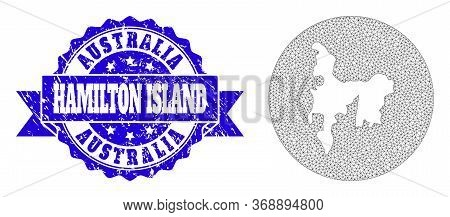 Mesh Vector Map Of Hamilton Island With Scratched Seal Stamp. Triangle Net Map Of Hamilton Island Is